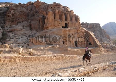 tomb in petra in jordan - stock photo