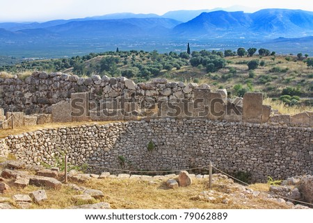 Tomb of Aegisthus - lover of Queen Clytemnestra, wife of Agamemnon - in Mycenae, Greece - stock photo
