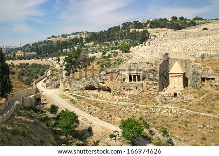 Tomb of of the priest Zechariah and ancient jewish cemetery on Mount of Olives in Jerusalem, Israel. - stock photo