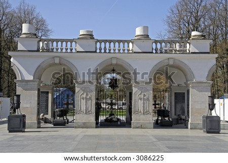 Tomb of the Unknown Soldier - Warsaw's landmark - stock photo