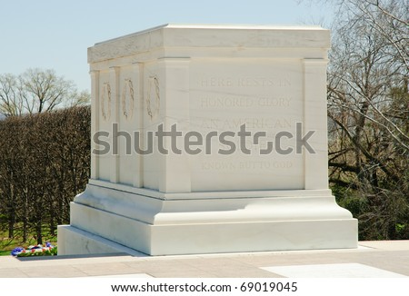 Tomb of the Unknowns at Arlington National Cemetery - stock photo