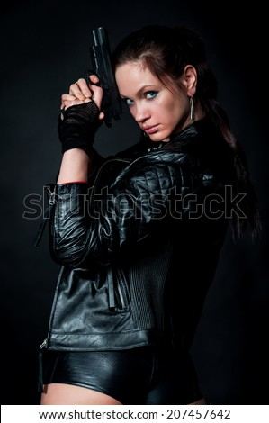 Tomb Raider style woman on black background