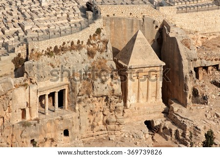 Tombs of Absalom, Zechariah and Benei Hezir in the Kidron valley, Jerusalem, Israel