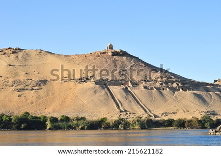 Tombs of the Nobles in Aswan, Egypt. - stock photo