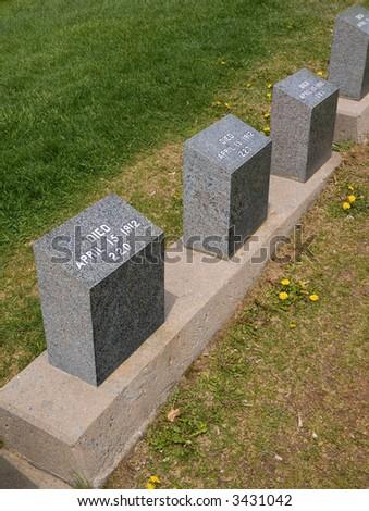 Tombs of unknown victims of the HMS Titanic in an Halifax cemetery - stock photo