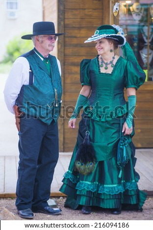 TOMBSTONE , ARIZONA - AUG 09 : A participants in the Vigilante Days event in Tombstone , Arizona on August 09 2014. Vigilantes dedicated to keeping the historical town of Tombstone alive  - stock photo