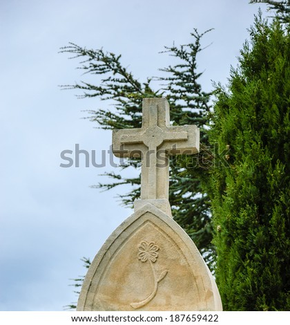 Tombstone with the cross and carved flower and the cypress tree at backgrounds in the old cemetery in Les Baux-de-Provence (Provence, France). - stock photo