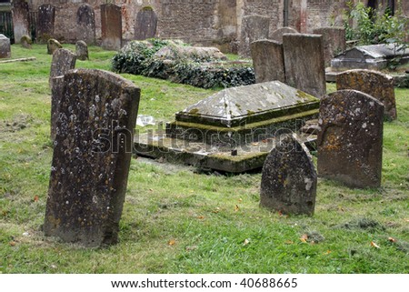Tombstones in a Cemetery - stock photo