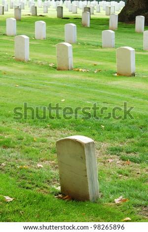 Tombstones in a veterans park graveyard - stock photo