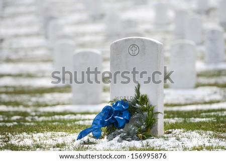 Tombstones in winter, Arlington National Cemetery - Washington DC United States  - stock photo
