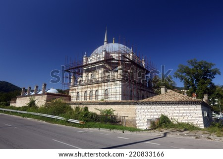Tombul mosque in Shumen, Bulgaria under construction. The Sherif Halil Pasha Mosque, (Turkish: Tombul Camii),  is the largest mosque in Bulgaria and one of the largest on the Balkan. - stock photo