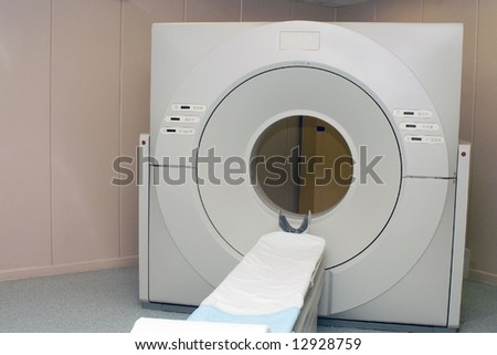 Tomographic scanner in the hospital - stock photo