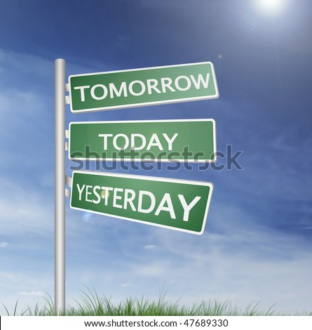 Tomorrow, today and yesterday direction sign with blue sky and green grass