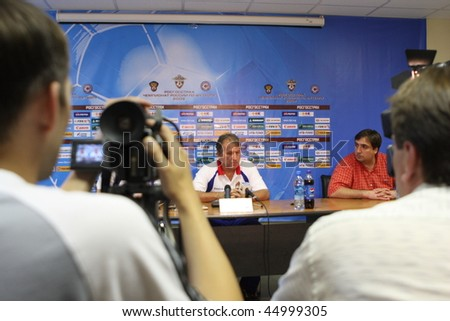 TOMSK, RUSSIA - AUGUST 1: Arthur Zico - head coach of FC CSKA (Moscow), at a press conference after the match Tom'(Tomsk) - CSKA (Moscow), August 1, 2009 in Tomsk, Russia. - stock photo