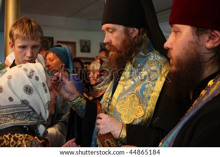 TOMSK, RUSSIA - AUGUST 9: Rostislav - Archbishop of Tomsk and Asino, commits the ceremony ritual in the orthodox church, August 9, 2009 in Tomsk, Russia.