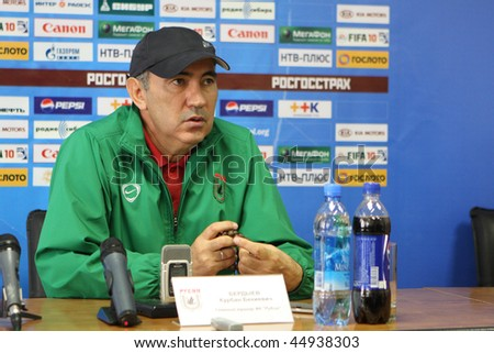 TOMSK, RUSSIA - SEPTEMBER 20: Kurban Berdyev - head coach of FC Rubin (Kazan), at a press conference after the match Tom'(Tomsk) - Rubin (Kazan), September 20, 2009 in Tomsk, Russia. - stock photo