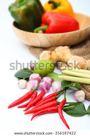 Tomyum Thai food seasoning ingredients on white background design