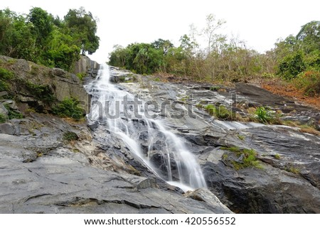 Ton Pliw waterfall at Songkhla Southern Thailand,long exposure-water motion blurred:Select focus with shallow depth of field.