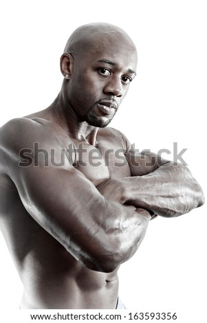 Toned and ripped lean muscle fitness body builder isolated over a white background. - stock photo