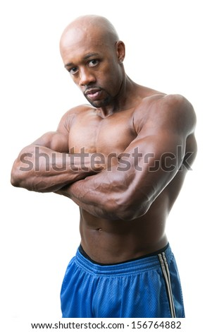 Toned and ripped lean muscle fitness man isolated over a white background. - stock photo