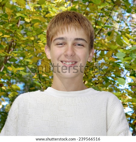 Toned photo of Cheerful Teenager in the Autumn Park - stock photo