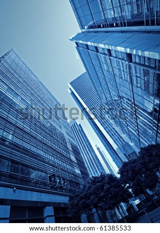 Toned picture of Canary Wharf`s skyscrapers. - stock photo