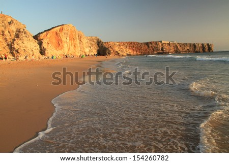 Tonel beach at sunset time, Sagres, Portugal - stock photo