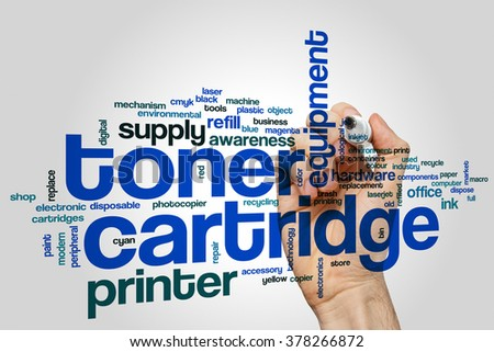 Toner cartridge word cloud concept - stock photo