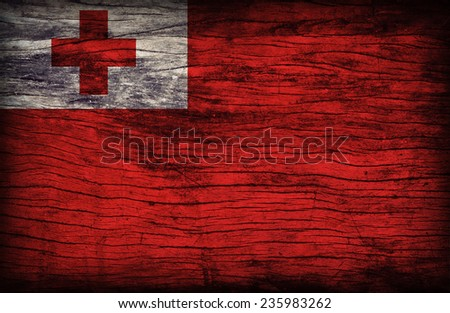 Tonga flag pattern on wooden board texture ,retro vintage