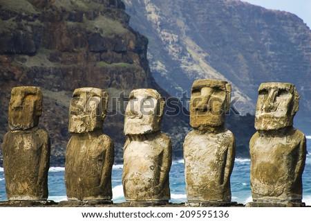 Tongariki Moais - Easter Island - stock photo
