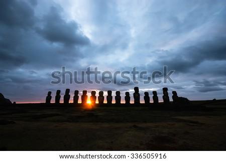 Tongariki Silhouette, Rapa Nui, Easter Island - stock photo