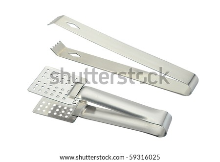 tongs isolated on a white background - stock photo