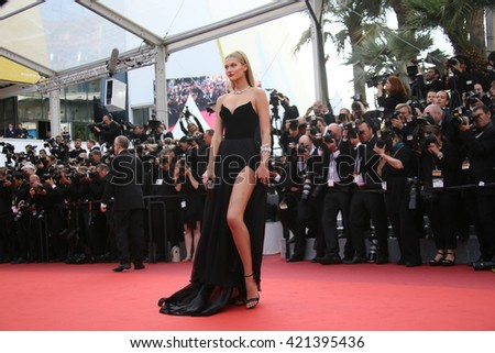 Toni Garrn attends the screening of 'Loving' at the annual 69th Cannes Film Festival at Palais des Festivals on May 16, 2016 in Cannes, France. - stock photo