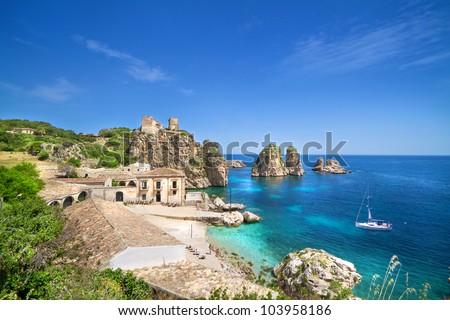 Tonnara di Scopello, Sicily, Italy - stock photo