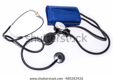 Tonometer and stethoscope isolated, medical equipment