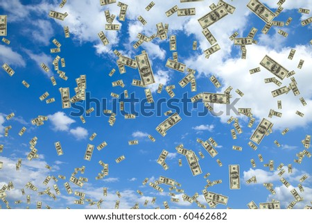 Tons of hundred dollar bills floating in the air - stock photo