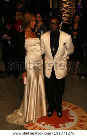Tonya Lewis Lee and Spike Lee at the 2007 Vanity Fair Oscar Party. Mortons, West Hollywood, CA. 02-25-07 - stock photo