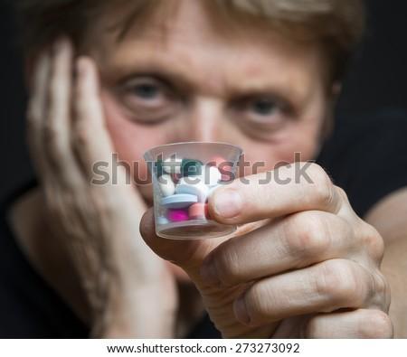 too many pills - stock photo