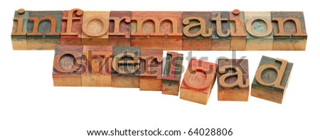 too much information or information overload concept - words in vintage wooden letterpress type isolated on white - stock photo