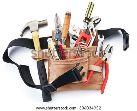 tool belt with tools against white background - stock photo