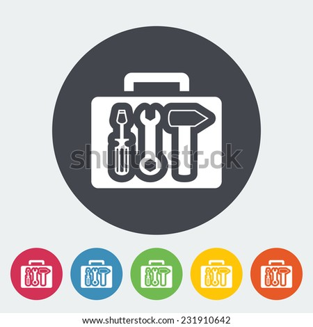 Tool box. Single flat icon on the circle.  - stock photo