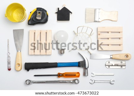Tool decorate on white background