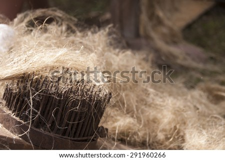 Tool for combing the flax and hemp - stock photo