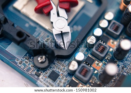 tool for repair and maintenance of digital technology - stock photo