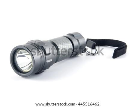 Tool industrial, Close up shot flashlight on isolate white background - stock photo