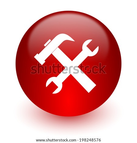 tool red computer icon on white background