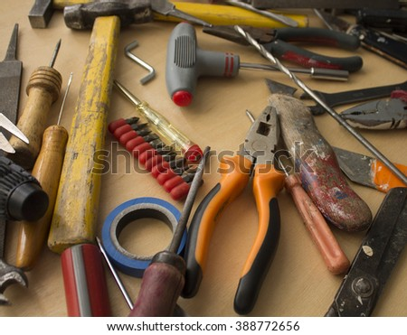 Tool renovation on grunge wood/Set of manual tools/Hand tools - stock photo