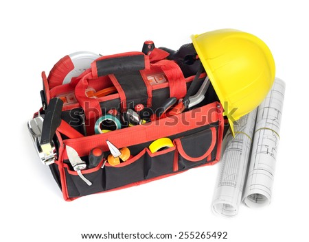 Toolbox and blueprints - stock photo