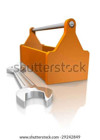 Toolbox and spanner - stock photo