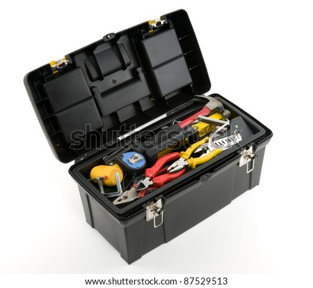 Toolbox and tools on white background. - stock photo